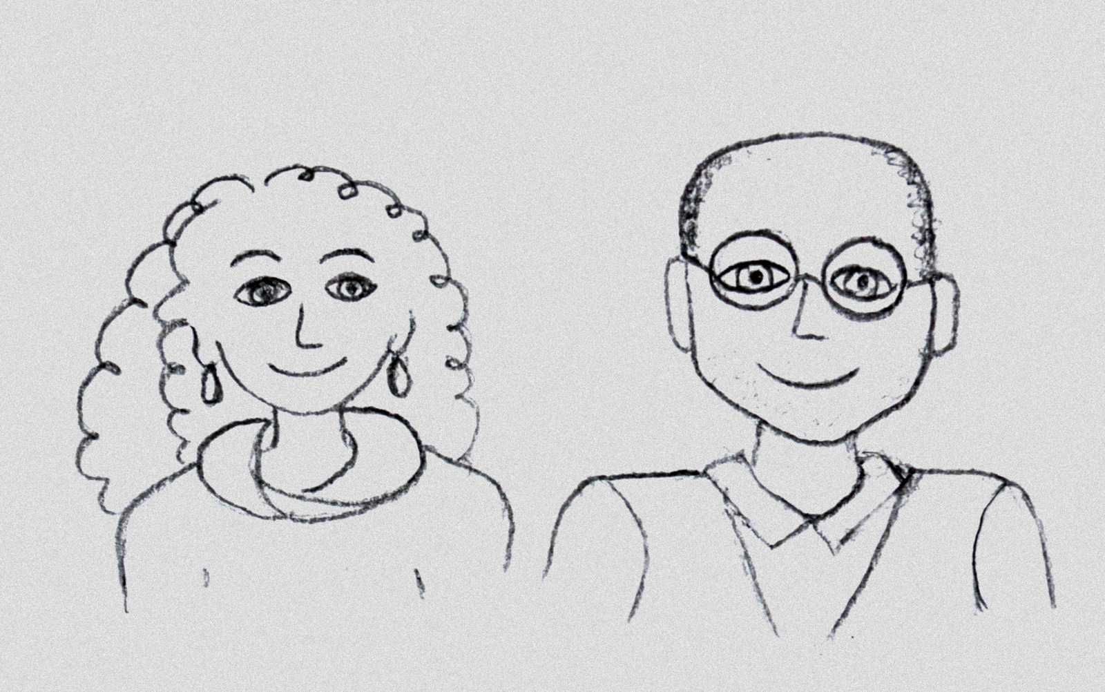 Veronica's illustrated version of our welcoming hosts Anne and Jérôme