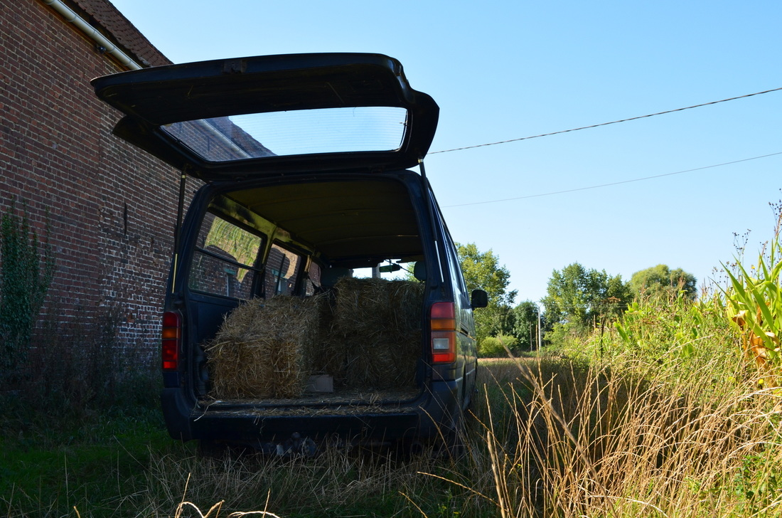 Transporting hay for the horses. Forgot the camera the day we used the old wooden wheelbarrow ;)