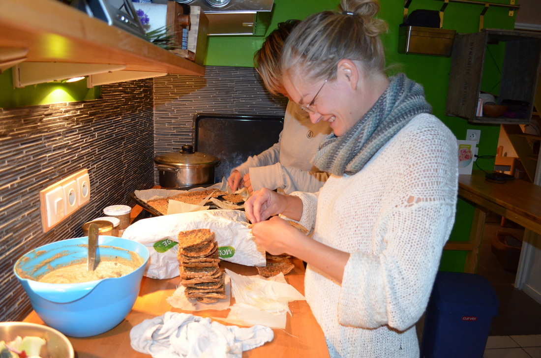 Cooking and baking at our hosts' home was fun, especially in company with our cheerful hostess Anne