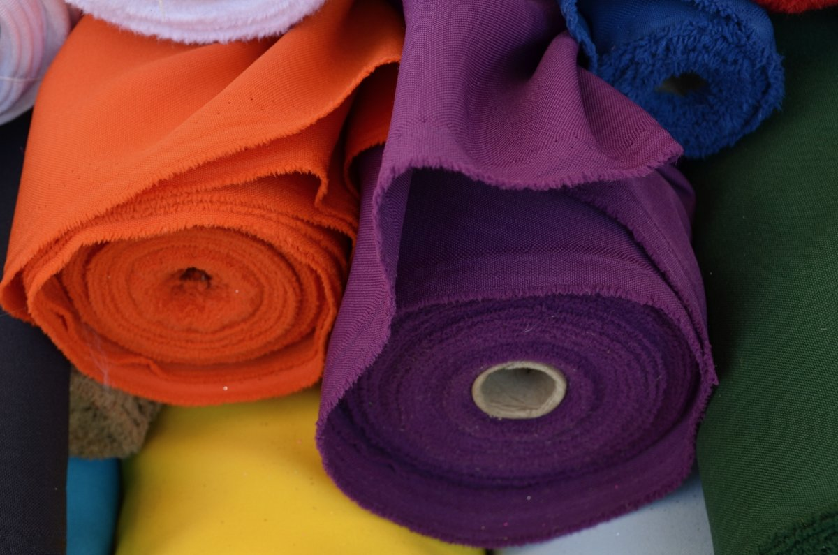 Orange and violet fabrics