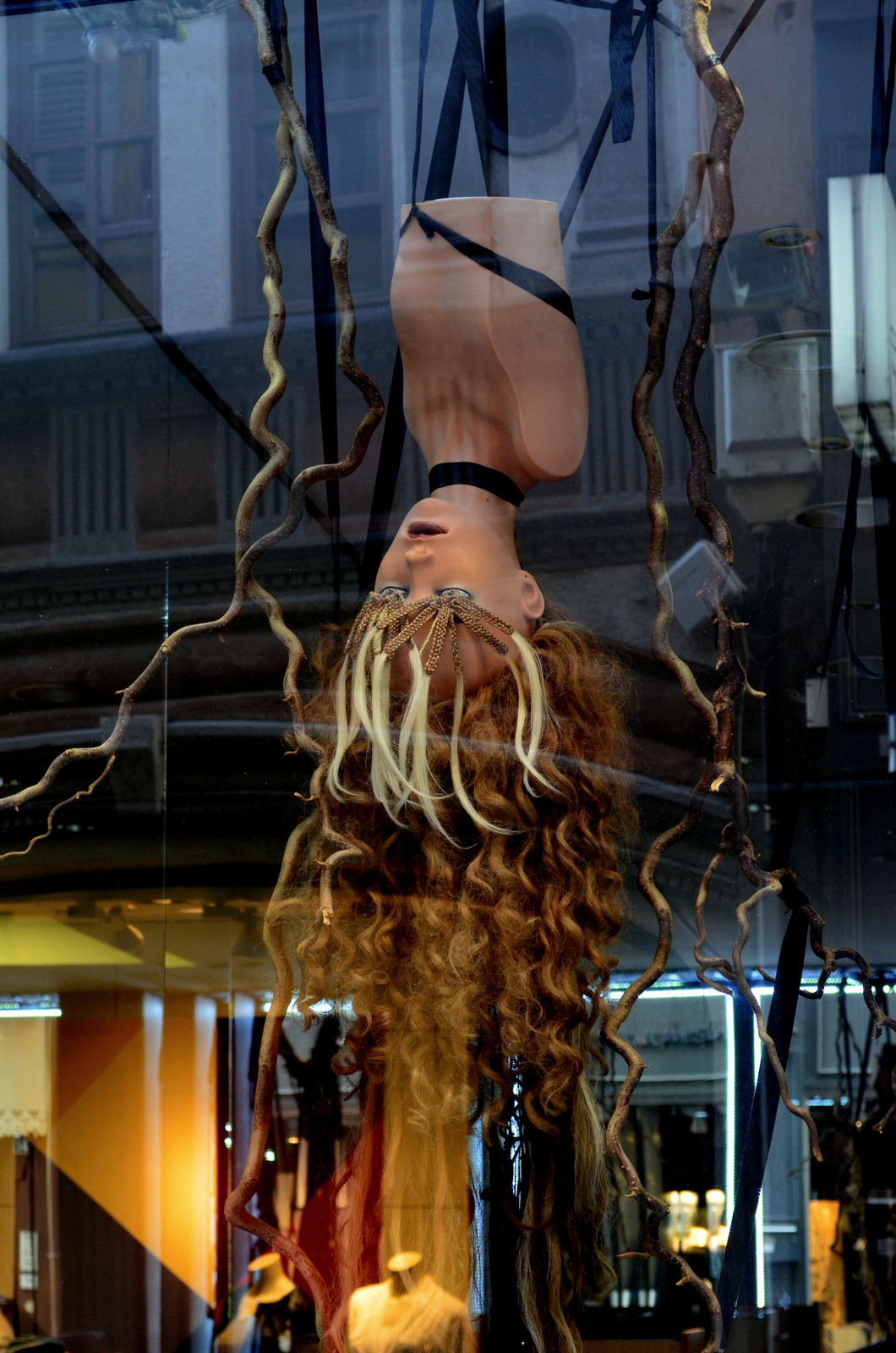 Bizarre/artsy window display at a hairdresser