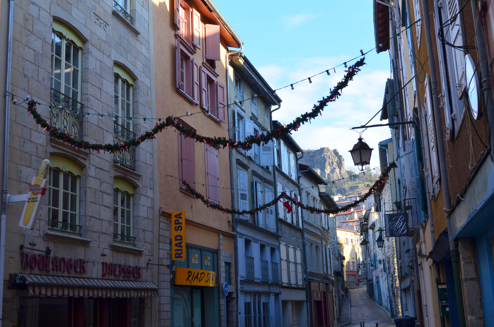 Charming colourful narrow streets decorated for Christmas