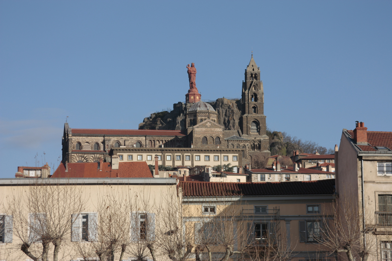 The great iron statue of Notre Dame de France overlooking Le Puy