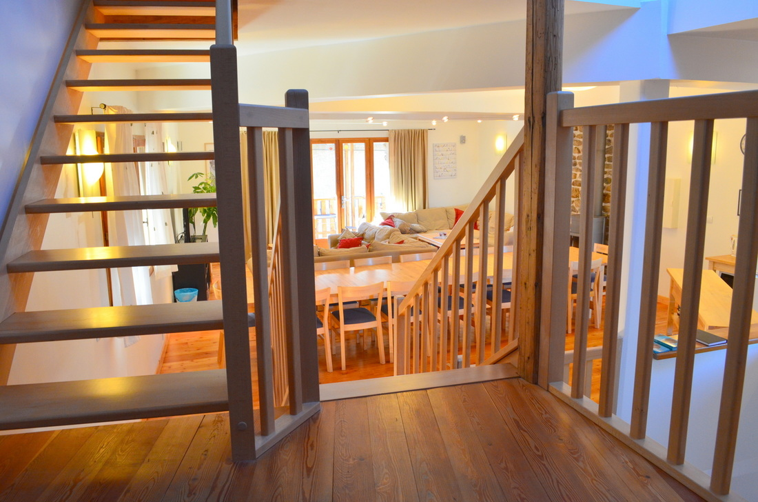 Shiny stairs and living room!